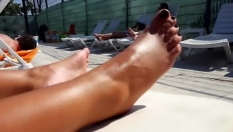 Cute Gf's oiled sexy feets toes soles at pool