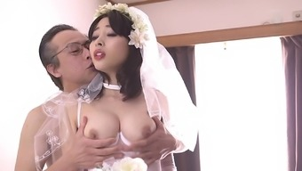 First wedding night with Mao Hamasaki in stockings gets nasty