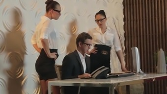 Perfect office ladies sharing cock at work