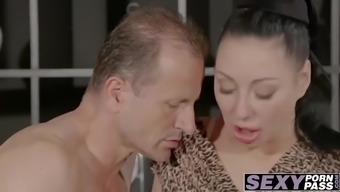 Busty brunette MILF Eva Ann gets hammered by mature cock