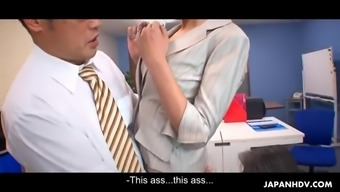 Seductive Japanese office girl got the anal creampie she wan