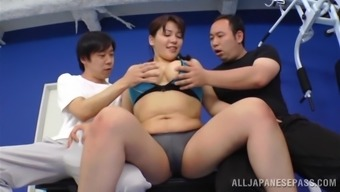 Striking Japanese Lady Goes Hardcore With Two Sportive Men