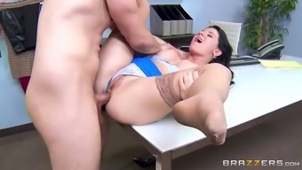 horny boss messing around with her hung assistant at work