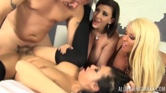 Group sex with Alura Jenson, Kimmy Lee and Sara Jay