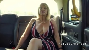 huge tits mature lesbian licking in cab