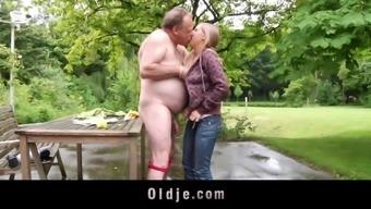 Blonde teenager fucks fat ugly old geezer