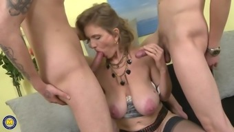 Naughty busty moms seduce young alpha males
