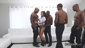big tit coed on 5 big black dicks
