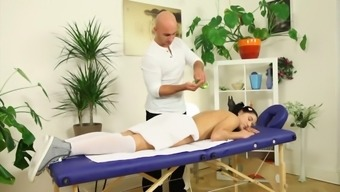 Pigtailed comely babe Lucy Bell gets fucked by her massage therapist