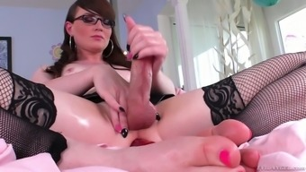 Kinky shemale in stockings Natalie Mars is toying stretched anal hole