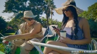 Bethany Benz enjoying the resort and seducing a ranger into fucking