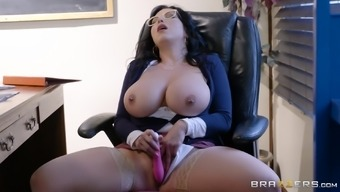 Stockings and glasses on Sheridan Love is all that her boss needs