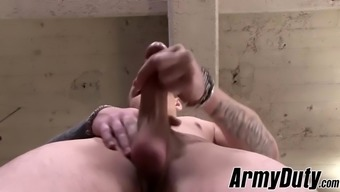 hunky homo alex michaels enjoys his rest from the army duty