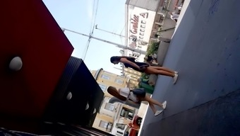 Spying on two hot teens in public