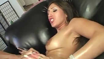 Hot cougar Alexis Breeze sucks a cock before being nailed cowgirl style