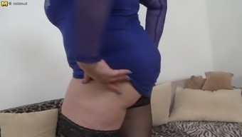 Mature BBW mom with big chest fucking young son