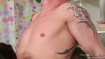Kinky bisexual dudes fuck each other's asses and get sucked by one babe