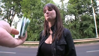 Sex on the grass with a busty siren that loves sex and money