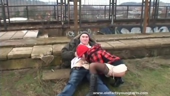 Wild cougar with a shaved pussy enjoying a hardcore fuck in public