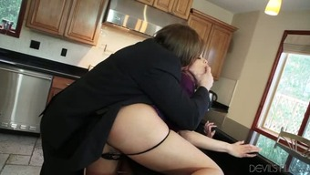Yummy sandy haired MILF gets doggy fucked at kitchen
