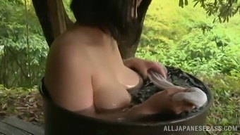 Adorable Japanese Babe Takes A Nice Bath Outdoors In A Lovely Story
