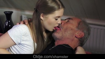 Young Russian Girl Suck The Bone of an Old Grandpa