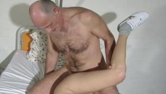German old Grandpa seduce his young Nurse