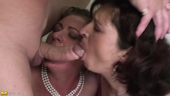 Two curvy mature sluts have a threesome with the horny guy