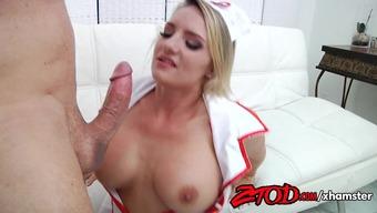 Busty Nurse Cali Carter Fucks a Big Cock
