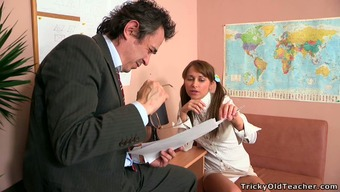 Sweet brunette college girl with pigtails tries to seduce her teacher