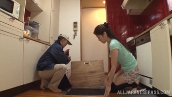 Long-haired Japanese wife cheats on her hubby with a plumber