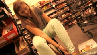 Shoe shopping with a cute teen that flashes us