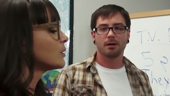 Black haired 4 eyed GF pleasures her yougn teacher with solid BJ