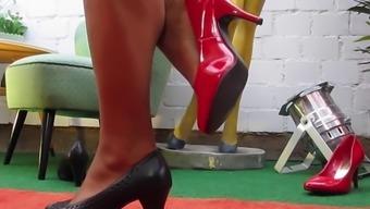 Female shoes fetish guy cums hard like never before