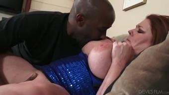 BBW Caucasian granny sucking big black dick deepthroat