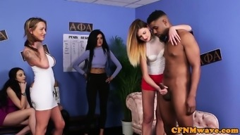 British cfnm sluts wanking group of cocks