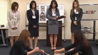 Two japanese babes stripping in groupsex