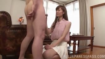 Beautiful Asian cowgirl in nylon stockings delivering palpitating handjob before receiving superb rim job