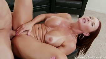Pale appetizing and big bottomed brunette cowgirl gets her twat nailed