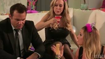 Sultry blonde MILF is having passionate lesbian sex at the party