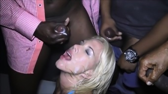 Cute blonde girl sucks big cock who then