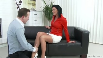 Horn-mad busty boss Celine Noiret doesn't undress and gets fucked missionary
