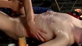 Gay male bondage milking cock and porno