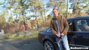 Sweet Marcus Go Really Hardcore Against A Car Outdoors