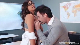 ella knox gets her big boobs worshipped in the classroom