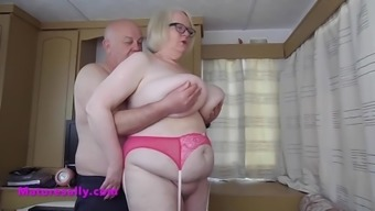 Granny in stockings excites her boyfriend