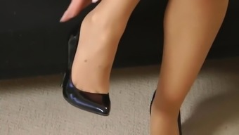 Red Dress and Tan Nylon Feet