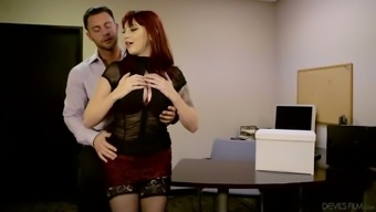 Sexy red haired secretary Amber Ivy helps her boss to get rid of stress