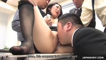 Cute asian milf ai mizushima is treated to bukkake by coworkers