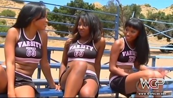 Three sexy black cheerleaders have steamy sex after dance